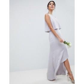 エイソス レディース ワンピース トップス ASOS DESIGN Pearl Trim Crop Top Maxi Dress Mink