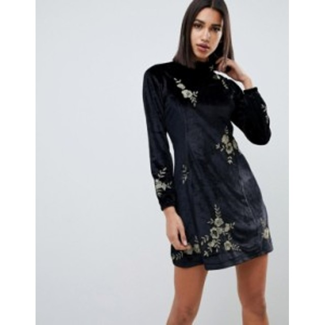 エイソス レディース ワンピース トップス ASOS DESIGN embroidered velvet high neck swing dress Black