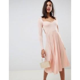 エイソス レディース ワンピース トップス ASOS DESIGN sweetheart neck pleated midi dress Blush