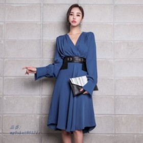 ファッション V ネックフルスリーブサッシ A ライン女性 ドレスエレガントなシャーリングスリムウエスト女性パーティードレス 2019 Vest