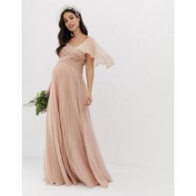 エイソス レディース ワンピース トップス ASOS DESIGN Maternity Bridesmaid pleated bodice maxi dress with flutter sleeve Soft blus