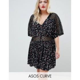 エイソス レディース ワンピース トップス ASOS DESIGN Curve ditsy lace insert casual tea mini dress Multi