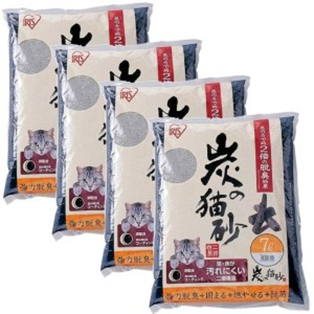 7L×4袋 (まとめ買い) アイリスオーヤマ 炭の猫砂