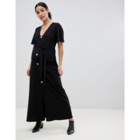 エイソス レディース ワンピース トップス ASOS DESIGN Maternity faux shell button through maxi tea dress Black