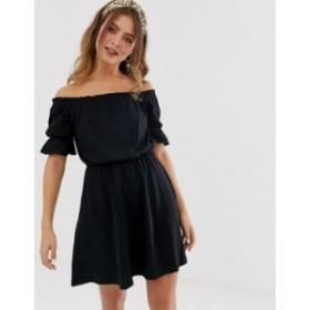 エイソス レディース ワンピース トップス ASOS DESIGN off shoulder mini sundress with puff sleeve Black