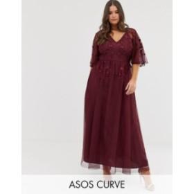 エイソス レディース ワンピース トップス ASOS DESIGN Curve flutter sleeve maxi dress in embroidered mesh Oxblood