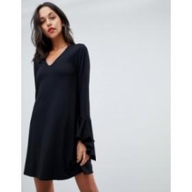 エイソス レディース ワンピース トップス ASOS DESIGN mini shift dress in ponte with long sleeves and frill cuffs Black