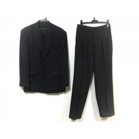 【中古】 ムッシュニコル monsieur NICOLE シングルスーツ サイズ50 メンズ 黒 ダークグレー ストライプ