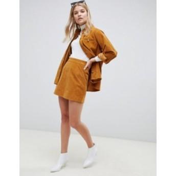 エイソス レディース スカート ボトムス ASOS DESIGN two-piece cord skirt in tan Tan