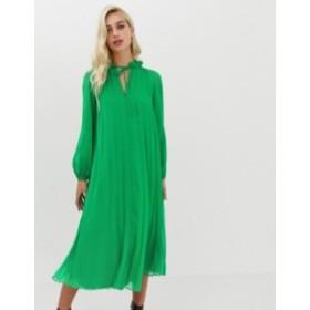 エイソス レディース ワンピース トップス ASOS DESIGN pleated trapeze midi dress with tie neck Bright green