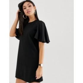 エイソス レディース ワンピース トップス ASOS DESIGN mini shift dress with woven sleeves Black