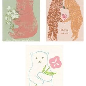 くま大好き*版画(シルクスクリーン)*ポストカード3枚*限定 クマ 白熊 テディ ベア bear