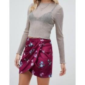 エイソス レディース スカート ボトムス ASOS DESIGN floral printed wrap velvet mini skirt Burgundy floral