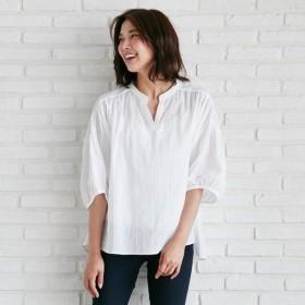 シャツ ブラウス レディース 表面感のある綿混素材スキッパーブラウス 「オフホワイト」