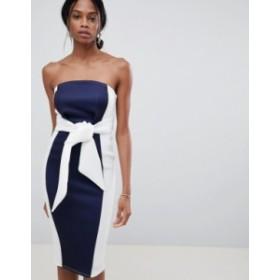 エイソス レディース ワンピース トップス ASOS DESIGN Color Block Bandeau Scuba Midi Dress Navy/cream