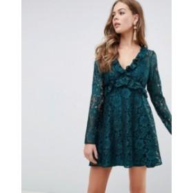 エイソス レディース ワンピース トップス ASOS DESIGN lace v neck mini smock dress with long sleeves Forest green