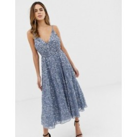 エイソス レディース ワンピース トップス ASOS DESIGN delicate sequin plunge midi dress with full skirt Blue