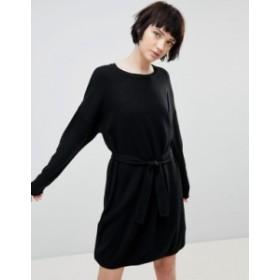 エイソス レディース ワンピース トップス ASOS DESIGN Sweater Dress With Belted Detail Black