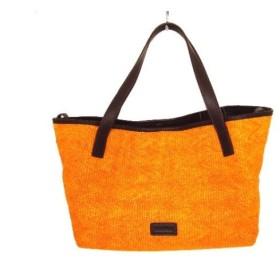 【中古】 マックスマーラ ショルダーバッグ オレンジ ダークブラウン 編み込み 化学繊維 レザー