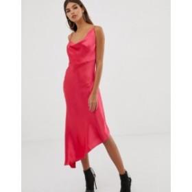 エイソス レディース ワンピース トップス ASOS DESIGN midi slip dress in high shine satin Hot pink