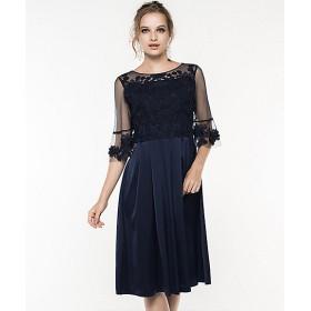 【送料無料】<GIRL> 大きいサイズ 【結婚式・お呼ばれ対応ワンピースドレス】 刺繍チュール&サテンフレアパーティドレス(fu-422)(クローバー) ネイビー(72000) 【三越・伊勢丹/公式】