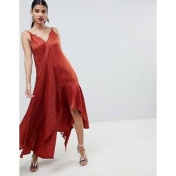 エイソス レディース ワンピース トップス ASOS DESIGN satin midaxi slip dress with lace trim Rust