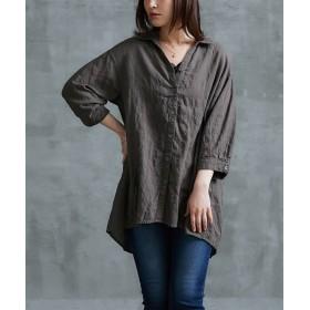 【ゆったりワンサイズ】UV加工ドルマンシャツ (ブラウス),Blouses, Shirts