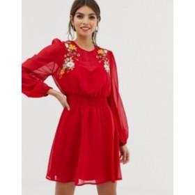 エイソス レディース ワンピース トップス ASOS DESIGN embroidered mini skater dress Red