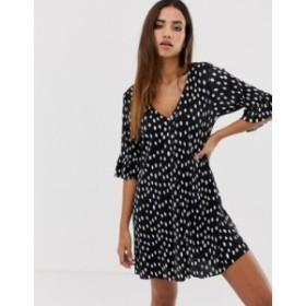 エイソス レディース ワンピース トップス ASOS DESIGN button through mini plisse dress in spot Mono spot