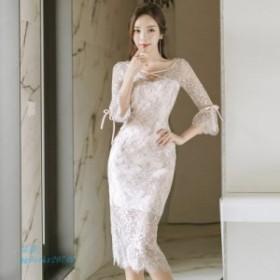 夏 ドレス柔らかい透明レースvネック人気なドレス女性タイアップ花ペンシルドレス人気 2019