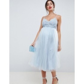 エイソス レディース ワンピース トップス ASOS DESIGN Maternity premium lace cami top tulle midi dress Grey blue