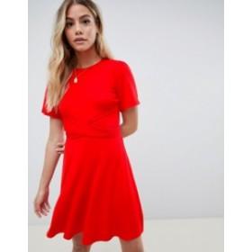 エイソス レディース ワンピース トップス ASOS DESIGN flutter sleeve wrap waist tea dress Red