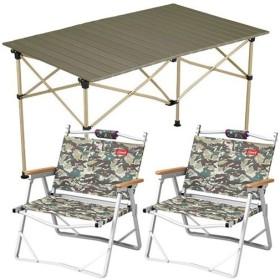 コールマン(Coleman) キャンプ イージーロール 2ステージテーブル/110 オリーブ & コンパクトフォールディングチェア カモフラージュ ×2脚セット 2019年