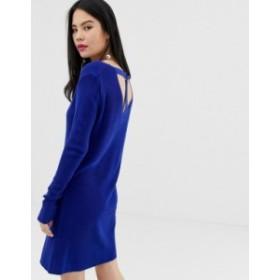 エイソス レディース ワンピース トップス ASOS DESIGN sweater dress with ring back detail Blue