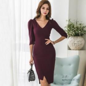 人気な V ネック不規則な女性ドレスハーフスリーブミドルボディコン女性 人気 ワイン赤 OL スタイル エレガントなドレス 2019
