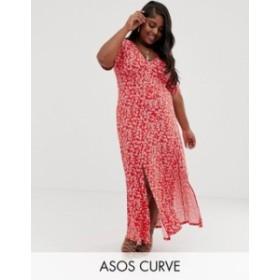 エイソス レディース ワンピース トップス ASOS DESIGN Curve button through maxi tea dress with splits in ditsy print Red ditsy