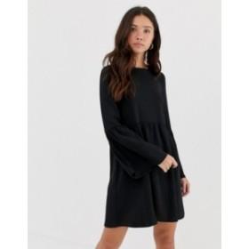 エイソス レディース ワンピース トップス ASOS DESIGN fluted sleeve smock mini dress Black