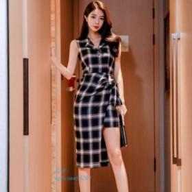 42661952fcd6c オフィスレディースチェック柄不規則な女性 ドレス V ネックレースアップシングルブレスト女性