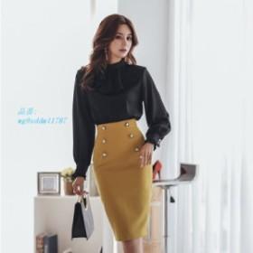 オフィスレディース O ネックパッチワーク 女性 ドレスエレガントなフリルヒップパッケージ女性 ドレス 2019 春作業服 女性 人気