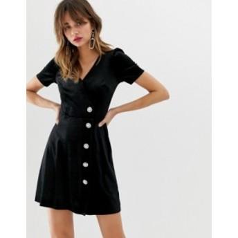 リバーアイランド レディース ワンピース トップス River Island wrap front dress in black velvet Black plain