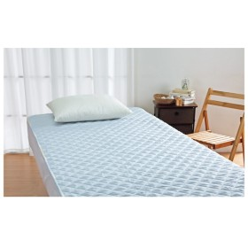 ロマンス小杉 近江麻使用 麻敷きパッド ブルー ベッドパッド・敷パッド