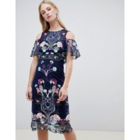 リバーアイランド レディース ワンピース トップス River Island Double Layer Embroidered Mesh Dress Navy