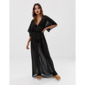 エイソス レディース ワンピース トップス ASOS DESIGN kimono sleeve tie back chiffon maxi beach dress in black Black