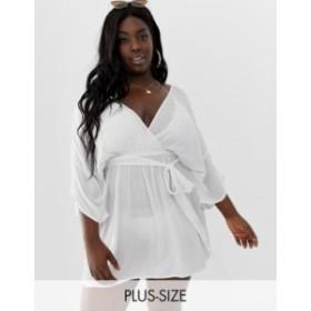 エイソス レディース ワンピース トップス ASOS DESIGN Curve plunge tie waist kimono sleeve crinkle beach cover up in white White