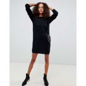エイソス レディース ワンピース トップス ASOS DESIGN cut out v back sweater dress Black