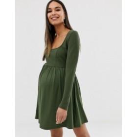 エイソス レディース ワンピース トップス ASOS DESIGN Maternity mixed fabric long sleeve skater dress Khaki