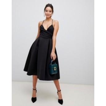エイソス レディース ワンピース トップス ASOS DESIGN Scuba Cami Prom Midi Dress Black