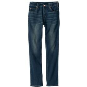 柔らかレーヨン混ストレッチライトデニムストレートパンツ(ゆったり太もも)(股下78cm) (大きいサイズレディース)パンツ,plus size