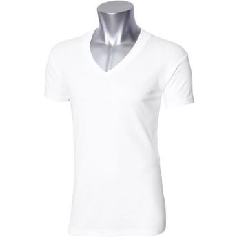 40%OFF【メンズ】 汚れ防止衿高半袖Vネックシャツ・2枚組 - セシール ■カラー:ホワイト ■サイズ:LL