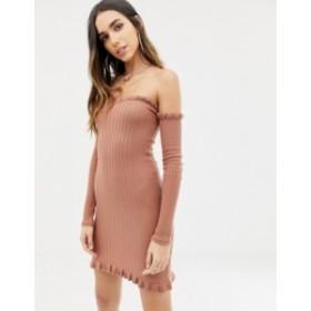 エイソス レディース ワンピース トップス ASOS DESIGN bardot frill ribbed knit mini dress Blush